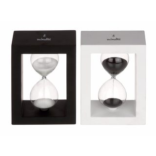Modern Reflections Black and White Wood and Glass Sand Timers (Set of 2)