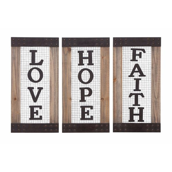 Wood and Metal Wall Panel (Pack of 3) - Brown