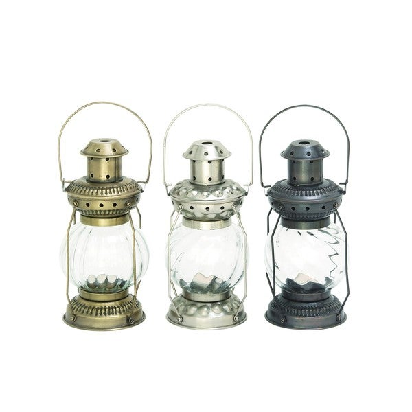 Rustic Reflections Iron and Glass Candle Lanterns (Set of 3)