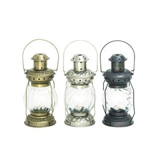 Rustic Reflections Iron and Glass Candle Lanterns (Set of 3) - Thumbnail 0