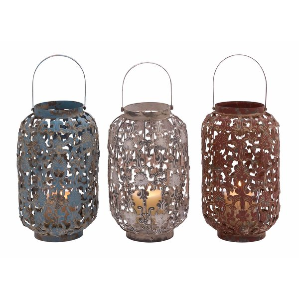 Multicolored Metal Assorted Lanterns (Set of 3)