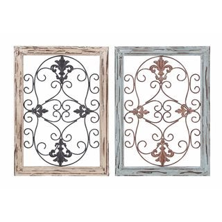 French Country Fir and Iron 22-inch Wall Panels (Set of 2)