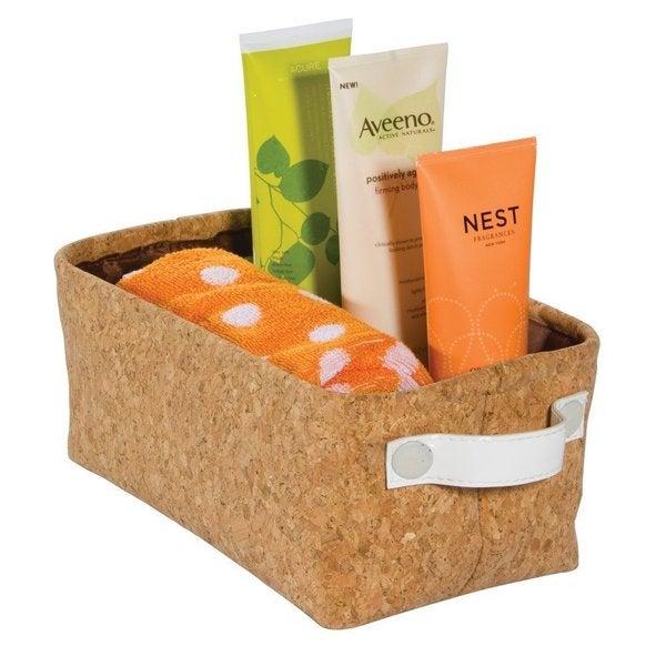 Interdesign Quinn Cork/Vegan Patent Leather Small Bath Storage Bin