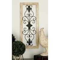 Ivory and Grey Wood and Metal Wall Panel (Set of 2)