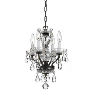 Crystorama Traditional Collection 4-light English Bronze/Crystal Mini Chandelier