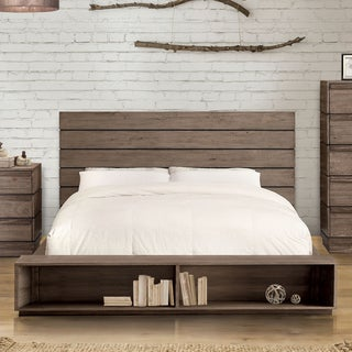 Furniture of America Emallson II Rustic Natural Tone Low Profile Bed with Bookcase Footboard