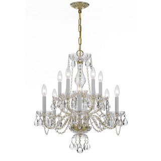 Crystorama Traditional Collection 10-light Polished Brass/Swarovski Strass Crystal Chandelier