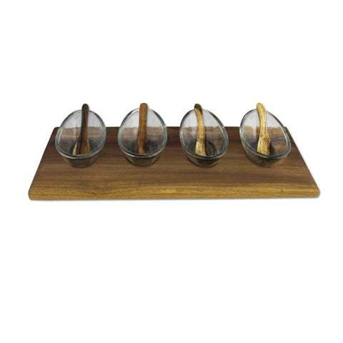 Handmade Recycled Glass and Mango Wood Dipping Bowls Set (India)