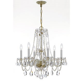 Crystorama Traditional Collection 6-light Polished Brass/Swarovski Spectra Crystal Chandelier