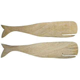 Natural Handmade Mango Wood 2-piece Whale Server Set (India)