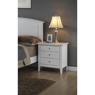 LYKE Home 3-Drawer White Nightstand