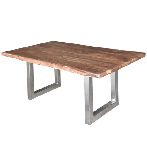 Handmade Porter Mojave Sustainable Live Edge Acacia Dining Table with Silver Square Legs (India)