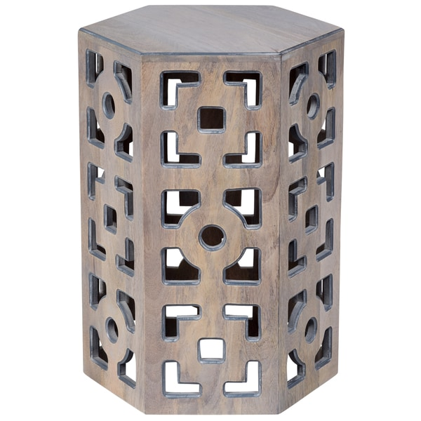 Wanderloot Sedgwick Geometric Grey Wash Wood End Table