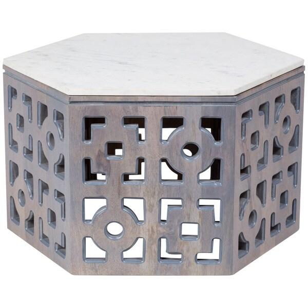 Shop Handmade Wanderloot Sedgwick Geometric Marble Top Grey Wash - Geometric marble coffee table