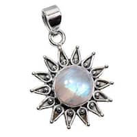 Handmade Sterling Silver Rainbow Moonstone Pendant Necklace (India) - n/a