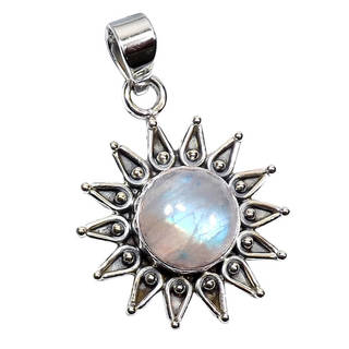 Handcrafted Sterling Silver Rainbow Moonstone Necklace (India) - n/a