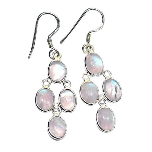 Handmade Sterling Silver Rainbow Moonstone Earrings India White