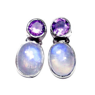 Sterling Silver Rainbow Moonstone and Amethyst Post Earrings (India) - n/a