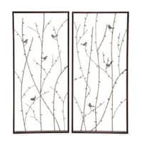 Natural Reflections Distressed Grey Iron Wall Decor (Set of 2)