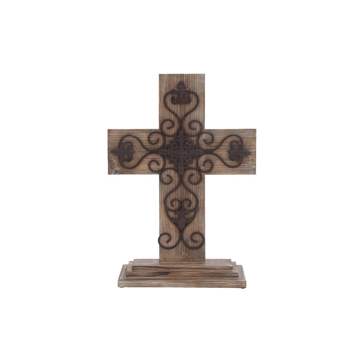 Natural/Black Wood and Metal Table Cross