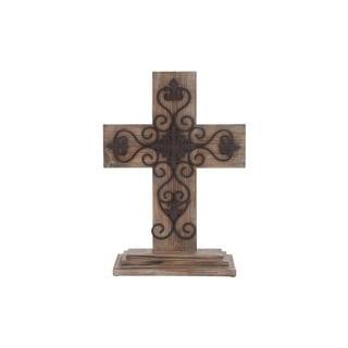Natural/Black Wood and Metal Table Cross - Thumbnail 0