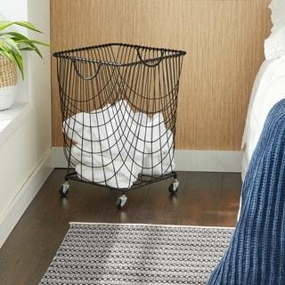 "Large Rectangular Black Metal Laundry Basket with Wheels & Handles 16"" x 24"""