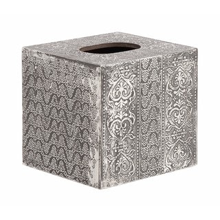Modern Reflections Silver Wood and Aluminum Square Tissue Box