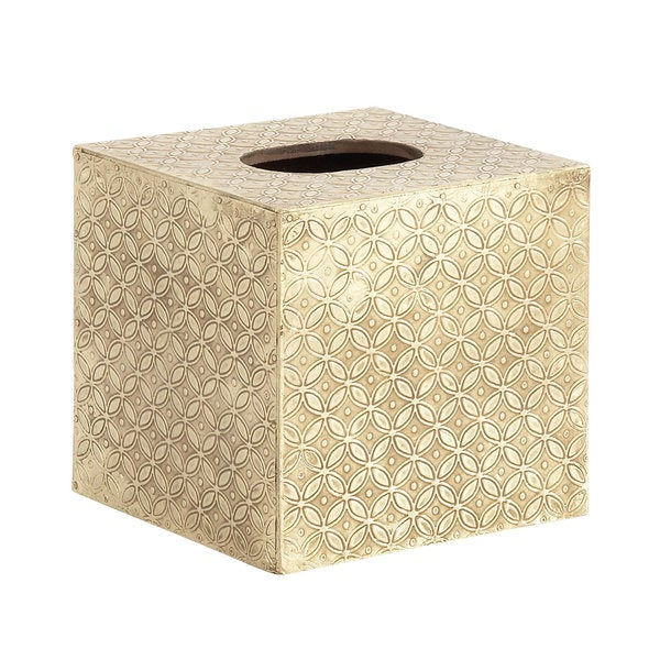 White Wood and Brass Square Tissue Box