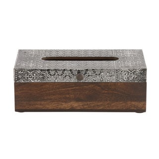 Dark Brown Wood Tissue Box with Silver Aluminum Top