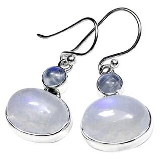 Handmade Sterling Silver Rainbow Moonstone Earrings (India) - White