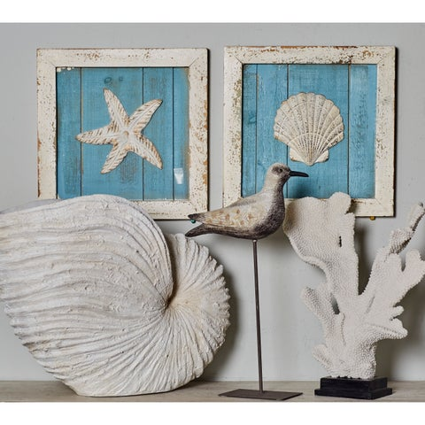Shell, Mollusk, and Starfish Wood Wall Plaques (Set of 3) - Green