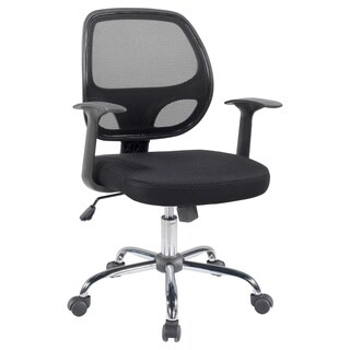 Black Mesh Mid back Swivel Office Desk Task Chair - Arms and Chrome base