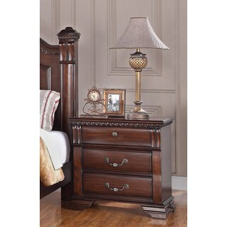 LYKE Home 3-Drawer Brown Nightstand