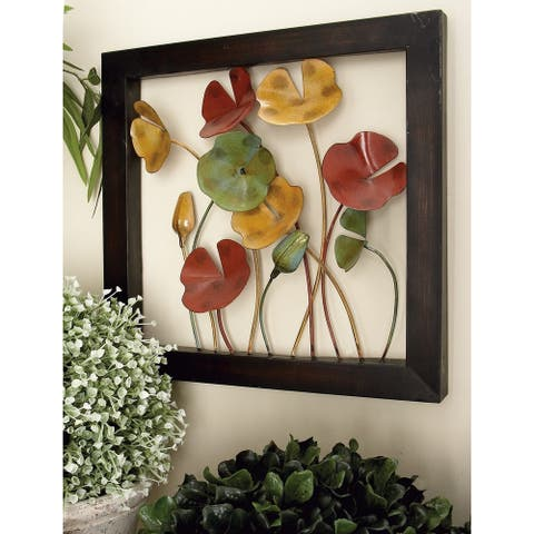 Set of 4 Natural 14 Inch Iron Poppy Flower Wall Decor by Studio 350