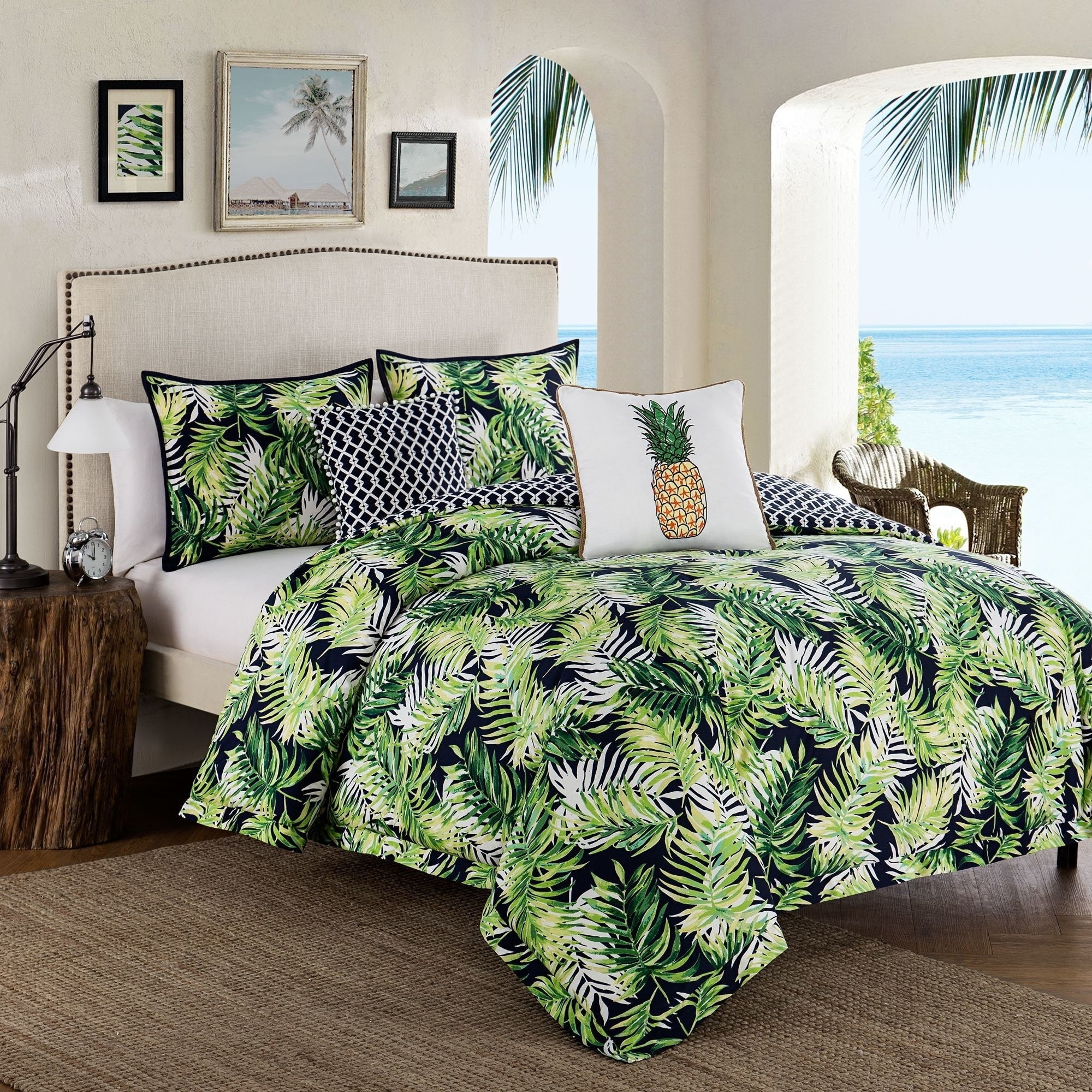 Tropical Paradise 5 Piece Green Cotton Comforter Set