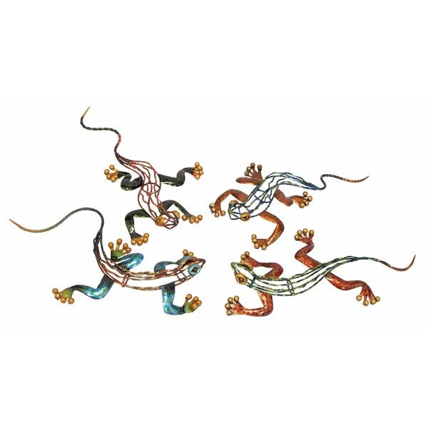 Multicolored Decorative Metal Lizards Decor (Set of 4)