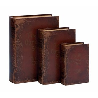 Wood and Leather Book Box (Pack of 3)