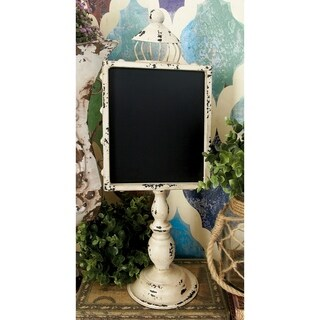 Rustic Elegance Vintage White and Black Metal and Wood Blackboards (Set of 2)
