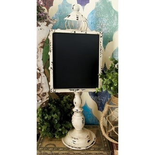 Rustic Elegance Vintage White and Black Metal and Wood Blackboards (Set of 2)