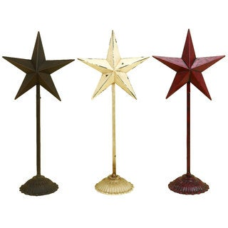 Distressed Finish Iron Star (Pack of 3)