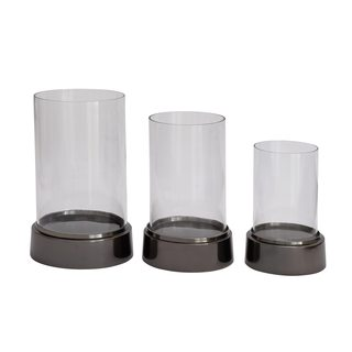 Oliver & James Buri Aluminum Glass Hurricane Shade (Pack of 3)
