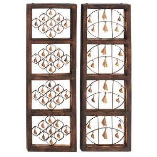 Brown Wood and Iron Wall Panels (Set of 2)