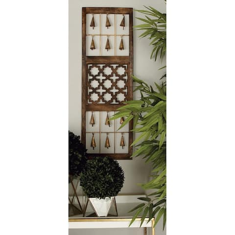 Set of 3 Eclectic 36 Inch Brown Wooden Wall Panels by Studio 350
