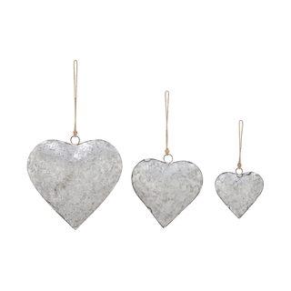Grey Metal Heart (Pack of 3)