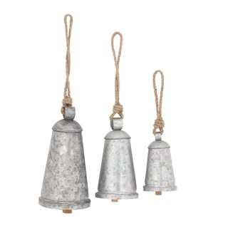 Rustic Reflections Wood and Metal Galvanized Finish Bells (Set of 3)