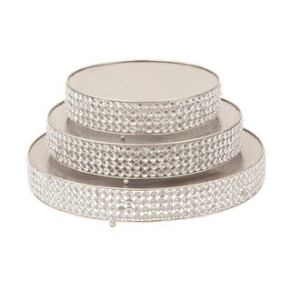 Party Essentials Round Silver Beaded Cake Stand (Set of 3)