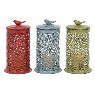 Iron Punched Filigree Design Cylinder Candle Lanterns (Set of 3)