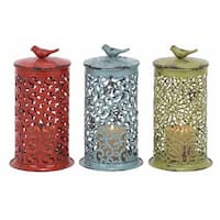 The Gray Barn Jartop Iron Punched Filigree Design Cylinder Candle Lanterns (Set of 3)