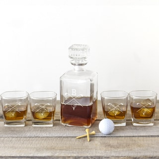 5-piece Personalized Golf Glass Decanter Set (Service for 4)