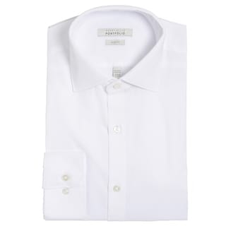 Perry Ellis Men's White Cotton-blend Slim-fit Wrinkle-free Dress Shirt